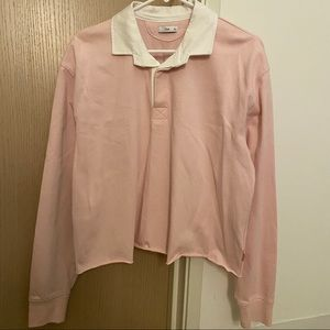 Aritzia Pink Oversize Cropped Polo